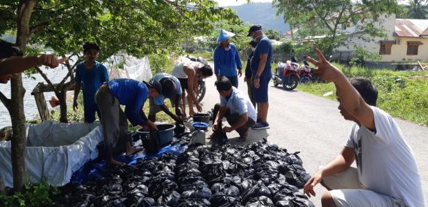 Direktur PT. MMP, Fahlul Efendi bersama petugas menyiapkan ikan yang akan dibagikan pada masyarakat