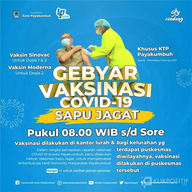 Jadwal lengkap Gebyar Vaksinasi Sapu Jagat Kota Payakumbuh