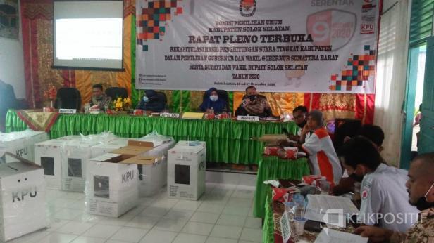 Rapat pleno Rekapitulasi Perolehan suara pilkada serentak tahun 2020 tingkat kabupaten Solok Selatan