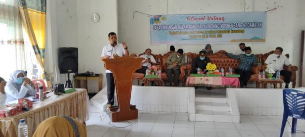Pj. Sekda Solsel Doni Rahmat Samulo Saat membuka Musrenbang kecamatan tingkat kabupaten Solok Selatan di Kecamatan Sangir, Rabu (3/2)