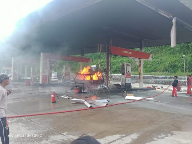 SPBU di Muaro Bodi, Kecamatan IV Nagari, Kabupaten Sijunjung yang Terbakar