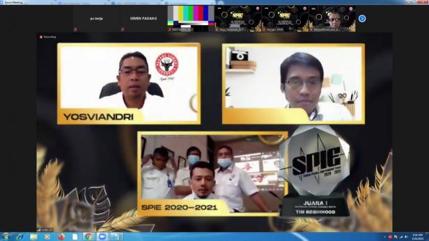 Teks Foto: tangkapan layar aplikasi zoom acara penganugerahan SPIE tahun 2019-2020 yang digelar secara virtual, Rabu (24/2/2021).