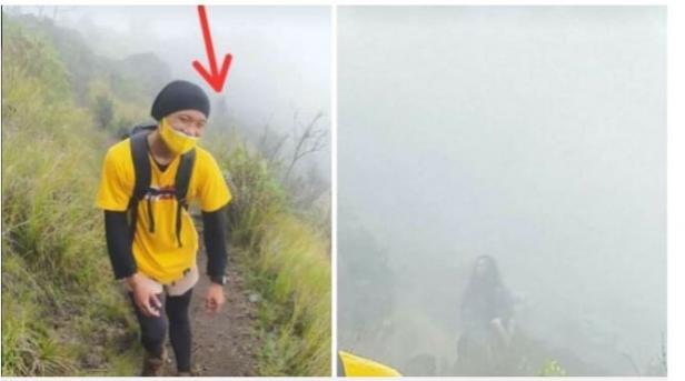 Heboh Penampakan Sosok Gondrong di Gunung (Facebook/Wahyu subuh)