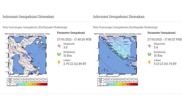 Peta guncangan gempa Sulteng dan gempa Lampung hari ini