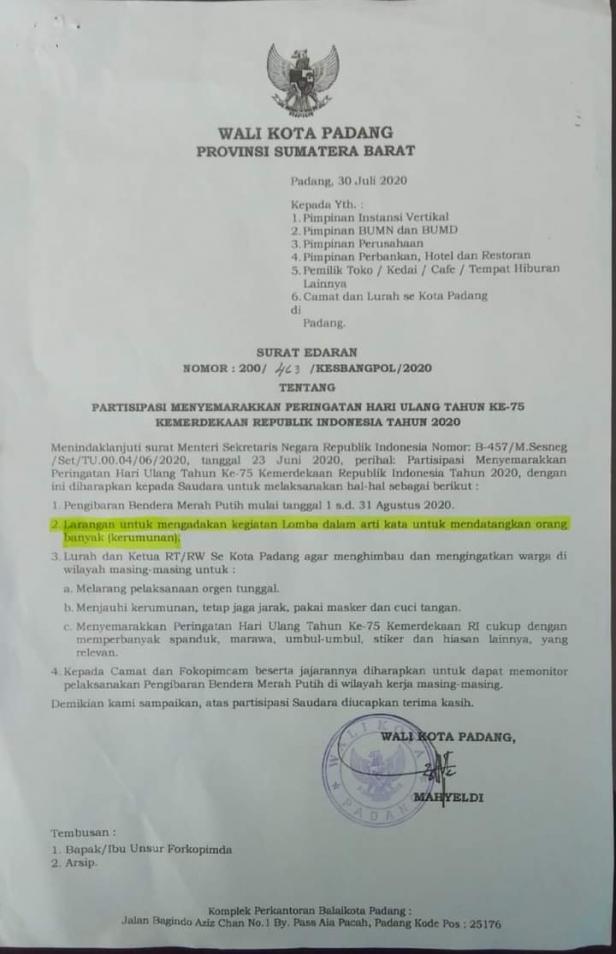 Surat edaran Wali Kota Padang sebelum dilakukan revisi