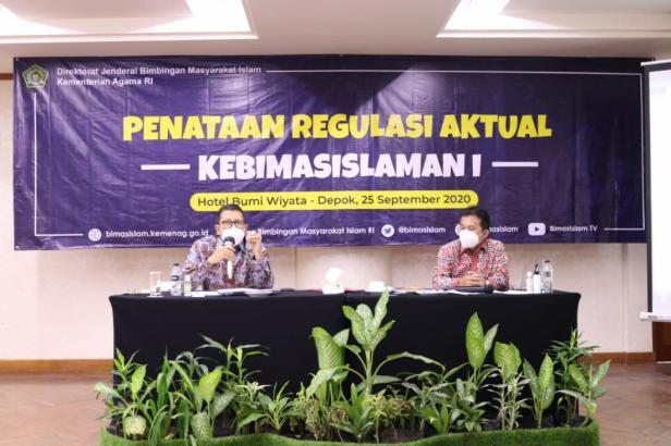 Pembahasan Penataan Regulasi Aktual Kebimasislaman yang diselenggarakan oleh Ditjen Bimas Islam, di Depok, Jawa Barat