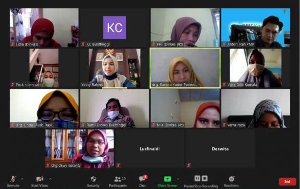 BPJS Kesehatan Cabang Bukittinggi bersama seluruh FKTP di wilayah Kota Bukittinggi melakukan evaluasi dan koordinasi melalui aplikasi video conference.