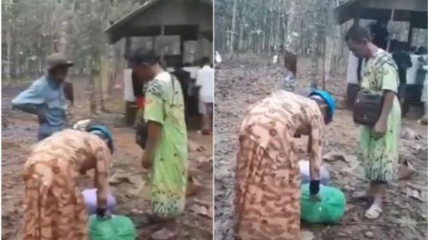 Bapak-bapak korban banjir Kalsel pakai baju daster