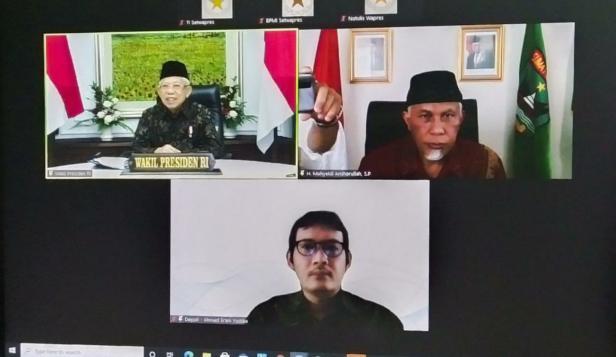 Wapres saat zoom meeting bersama Gubernur Sumbar, Mahyeldi, Rabu (23/6/2021).