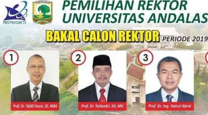Calon Rektor Unand Periode 2019-2023