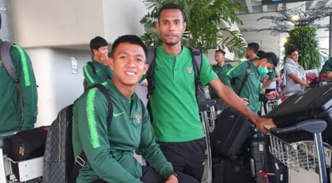 Timnas Indonesia saat tiba di Indonesia usai melawan Yordania