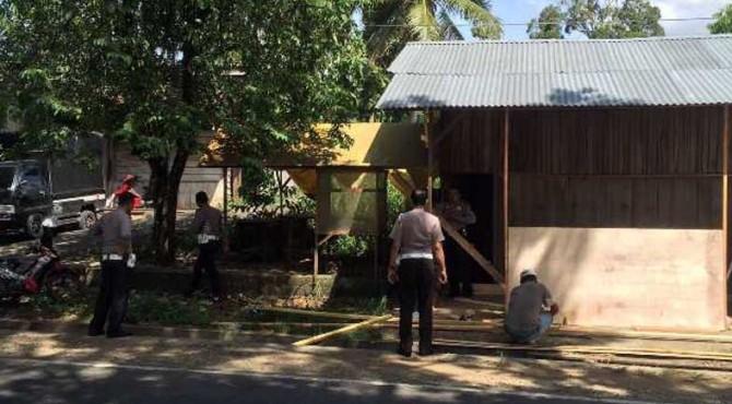 Polisi sedang membuat posko pengamanan lebaran di Payakumbuh.
