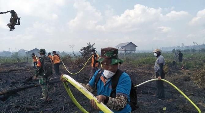 Proses pemadaman api Karhutla di Pessel.