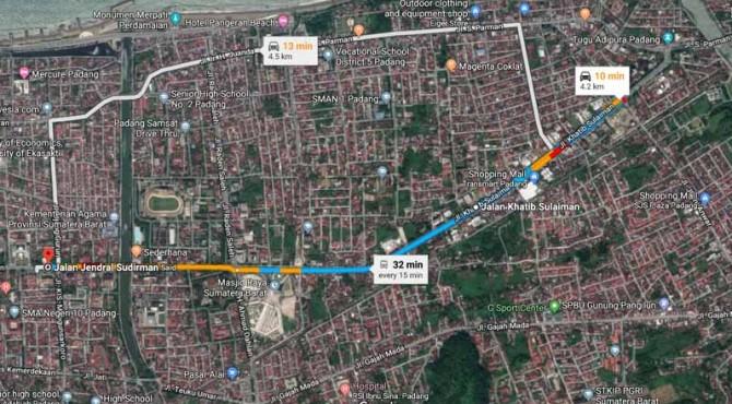 Panjang ruas jalan di Kota Padang yang akan ditutup pada akhir pekan ini
