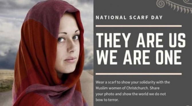 National Scardf Day, aksi solidaritas semua wanita Selandia Baru mengenakan hijab pasca penembakan.