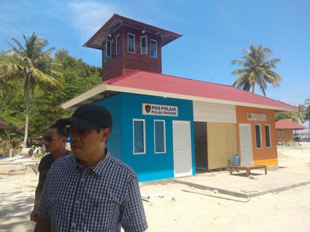 Posko bencana di objek wisata Pulau Pagang
