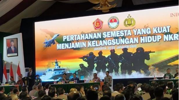 Presiden Jokowi memberikan arahan di Kemenhan pada Kamis (23/1/2020).
