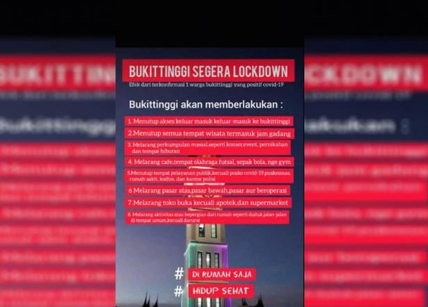 Postingan Bukittinggi lockdown yang meresahkan