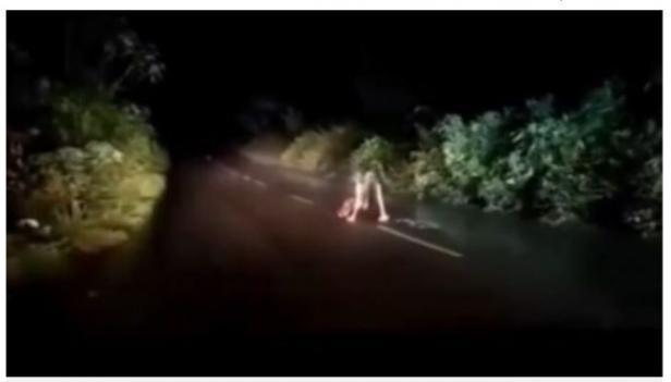 Cuplikan video pengendara mobil dicegat makhluk mengerikan di jalan.