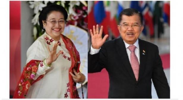Megawati Soekarnoputri (kiri) dan Jusuf Kalla (kanan)