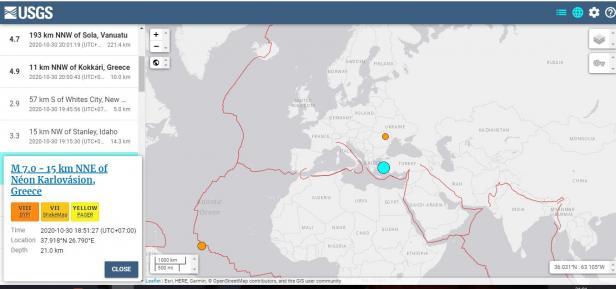 Gempa 7,0 SR di Laut Aegea