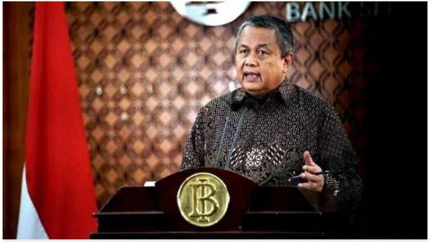 Gubernur Bank Indonesia Perry Warjiyo saat konferensi pers melalui streaming di Jakarta, Selasa (31/3 - 3030).