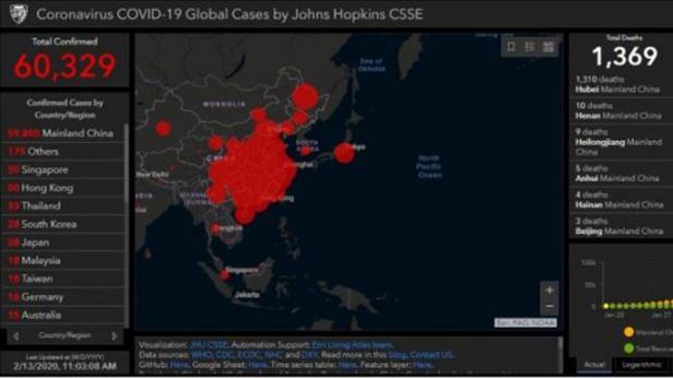 Situs melacak penyebaran Virus Corona, Johns Hopkins CSSE