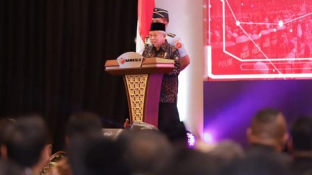 Wakil Presiden RI Ma'aruf Amin saat memberikan sambutan dalam peluncuran IKP Pilkada 2020 di Jakarta, Selasa 25 Februari 2020