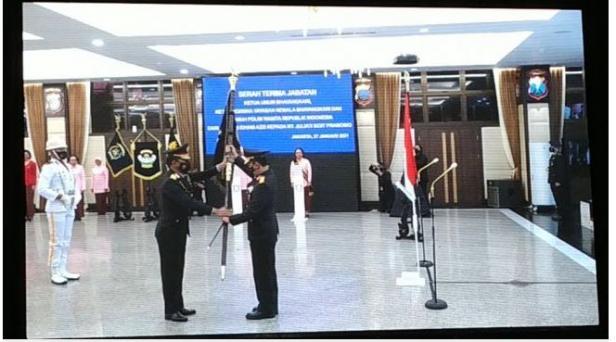 Upacara serah terima jabatan Kapolri dari Jenderal Polisi Idham Azis kepada Jenderal Pol Listyo Sigit Prabowo.