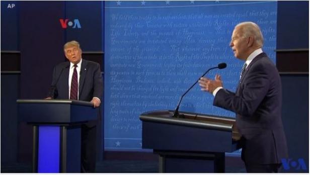 Debat capres AS, Donald Trump dan Joe Biden.