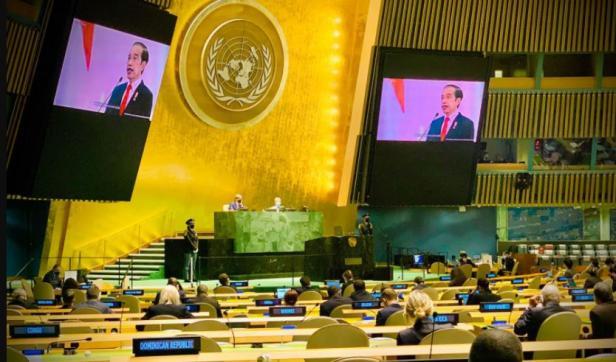 Presiden Joko Widodo dalam pidatonya pada sesi debat umum Sidang Majelis Umum ke-76 PBB, Kamis (23/09/2021)