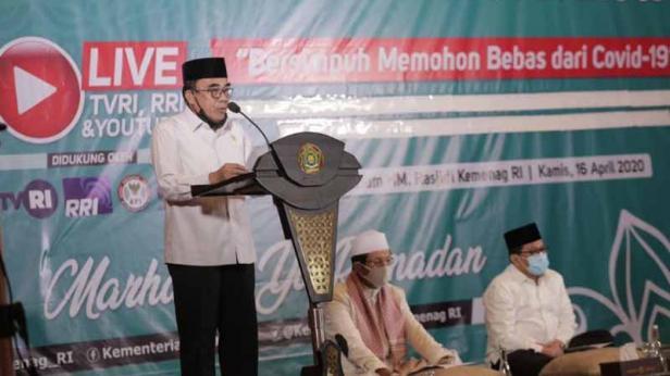 Menag pada malam Doa dan Dzikir untuk Keselamatan Bangsa yang digelar secara daring dari Auditorium HM Rasjidi Kantor Kementerian Agama Jalan MH Thamrin Jakarta Pusat, Kamis (16/04) malam