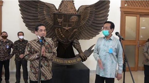 Menteri Perdagangan, Agus Suparmanto saat bertemu Gubernur DIY, Sri Sultan Hamengku Buwono di Kepatihan, Kamis (2/7/2020).
