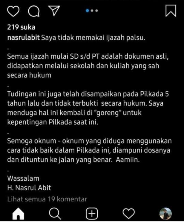 Postingan akun Instagram@nasrulabit Soal Tudingan Ijazah Palsu