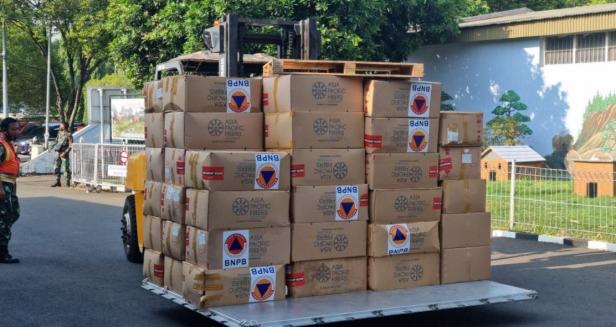 BNPB mengirimkan sejumlah bantuan logistik sebanyak 3 juta masker, antigen 3.000 boks dan hand-sanitizer 500 ribu botol guna mendukung penguatan penerapan protokol kesehatan pada penyelenggaraan Pekan Olahraga Nasional (PON) XX di tengah pandemi Covid-19.