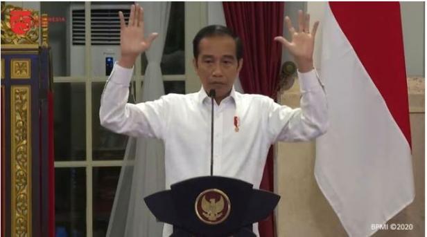 Jokowi saat menyampaikan arahan dalam sidang kabinet paripurna, di Istana Negara tanggal 18 Juni 2020.