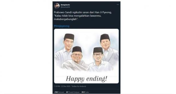 Cuitan akun @iksalradhit soal Prabowo-Sandi ikuti jejak Han Ji Pyeong