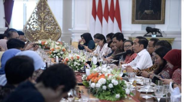 Presiden saat bertemu dengan wartawan di Istana Merdeka, Provinsi DKI Jakarta
