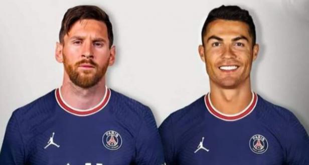 Khalifa Bin Hamad Al-Thani, yang mengkonfirmasi kepindahan Lionel Messi ke PSG, telah memposting gambar Cristiano Ronaldo dalam kaus Paris Saint-Germain dengan tulisan: 'Mungkin?'