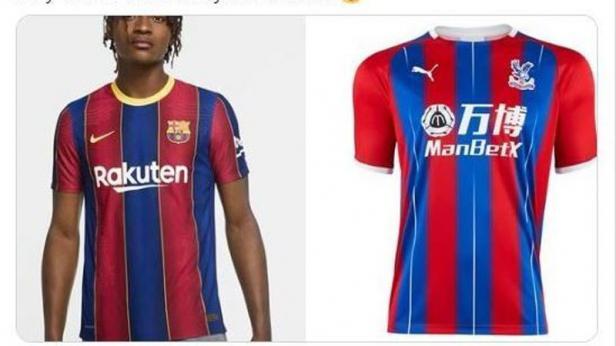 Jersey kandang baru Barcelona disebut mirip jersey Crystal Palace.