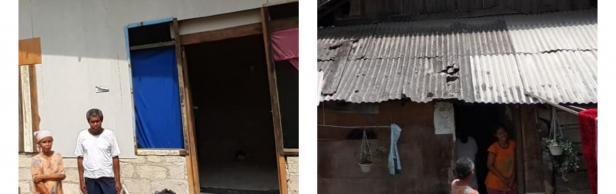 Pak Jun dan istri berpose di depan rumahnya yang telah dibedah. Foto kanan: Rumah Pak Jun sebelum dibedah.