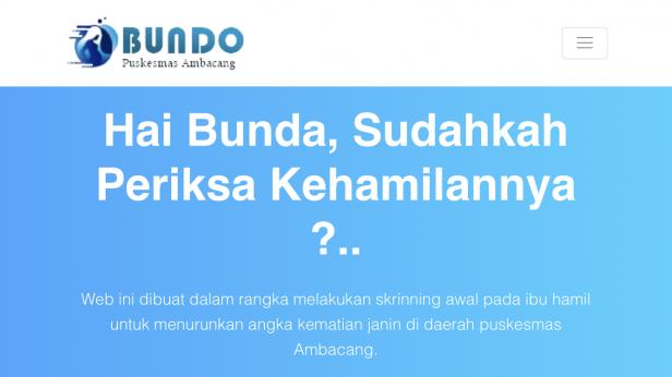 Website yang berisi informasi seputar kehamilan yang dibuat Puskesmas Ambacang, Padang