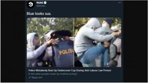 Video viral intel pukul polisi diungah ulang 9gag