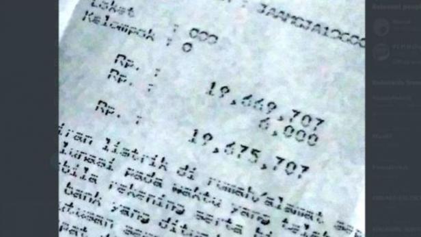Tagihan listrik mencapai Rp 19 juta.