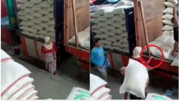 Menyayat Hati, Nenek Ini Kumpulkan Beras Jatuh dari Truk Demi Bisa Makan.