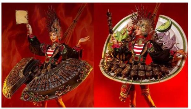 Kolase kostum sate Aurra Kharisma di ajang Miss Grand International.
