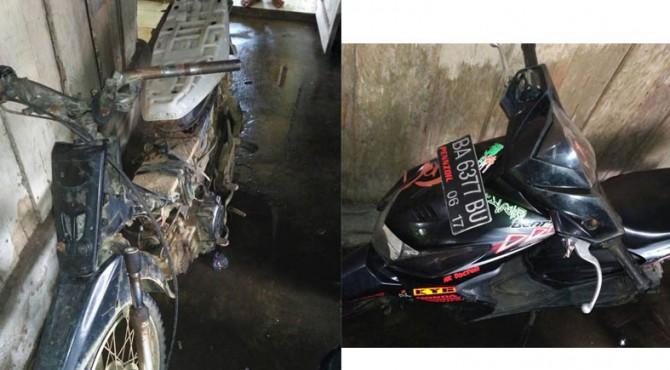 dua sepeda motor yang terlibat kecelakaan
