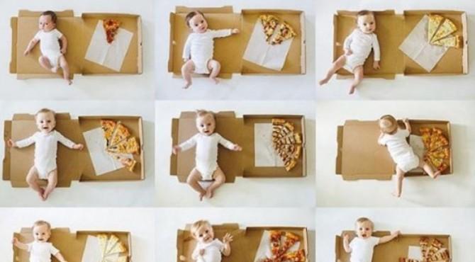 Foto tersebut menampilkan kemajuan pertumbuhan Enzo selama setahun dengan jejeran potongan pizza.