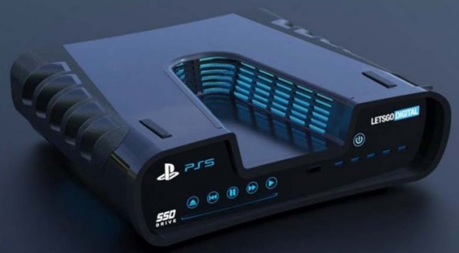 Gambar rekaan artis dari sebuah desain yang didaftarkan Sony ke badan paten dunia pada 13 Agustus lalu. Ini diduga sebagai PlayStation 5.