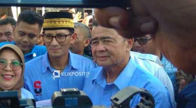 Sandiaga Uno dan Wagub Sumbar Nasrul Abit beberapa waktu lalu di Padang